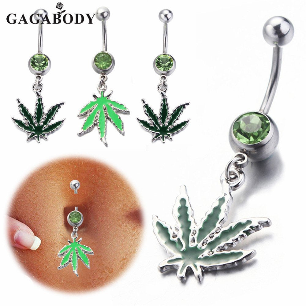 St. Patrick Day Pot Leaf Dangle Body Piercing Belly Button Ring 1.6mm.