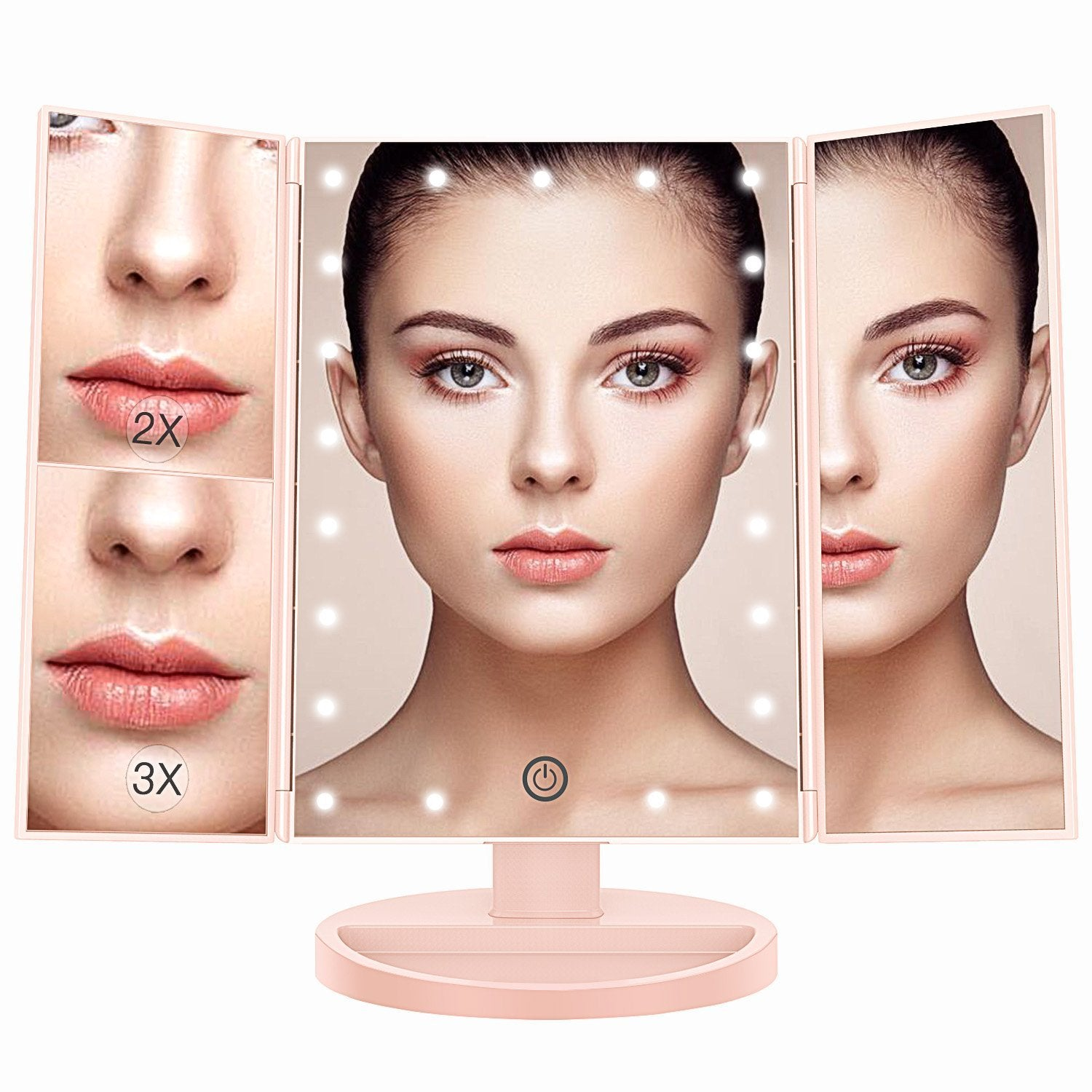 Awesome Portable Makeup Vanity Mirror With 22 LED Lights And Up To 10x Magnifying  Mirror ...