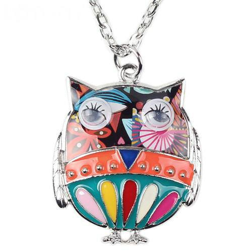 Enamel Owl Necklace - Wincia.com