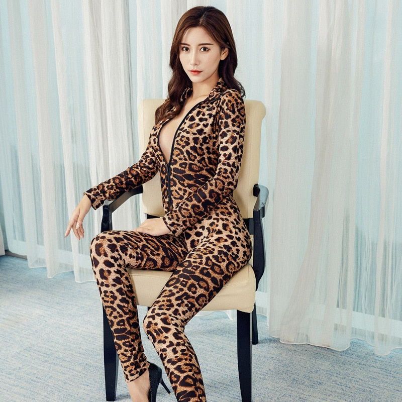 Black Striped Sexy Bodysuit and Long Sleeve Leopard Jumpsuit
