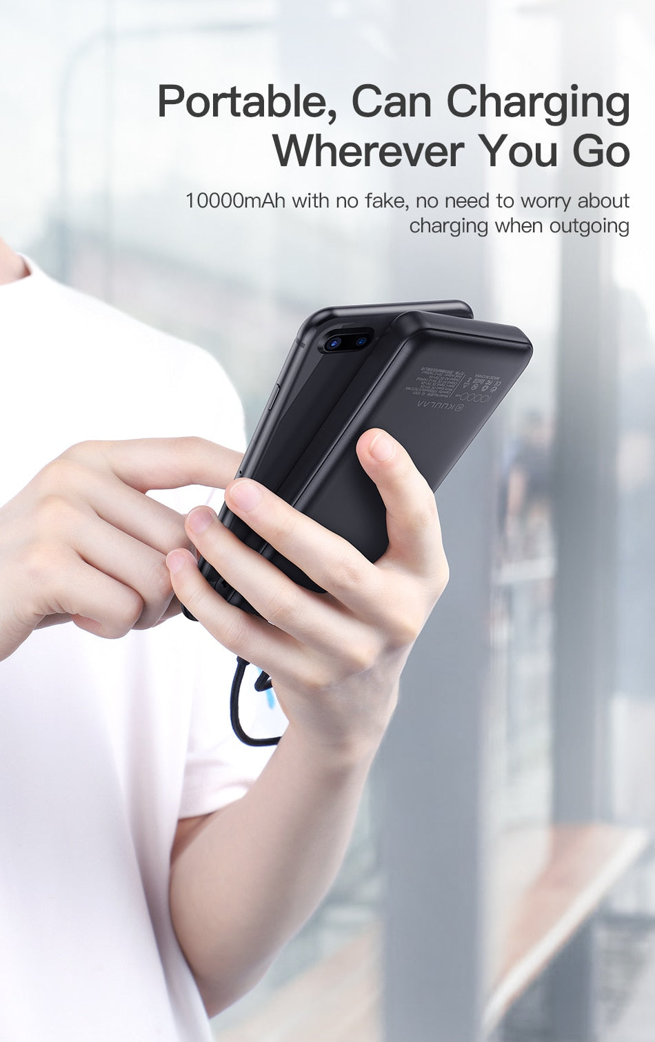 Mobile Portable Charging Power Bank and 10,000 mAh External Battery Charger For iPhone and Smartphones
