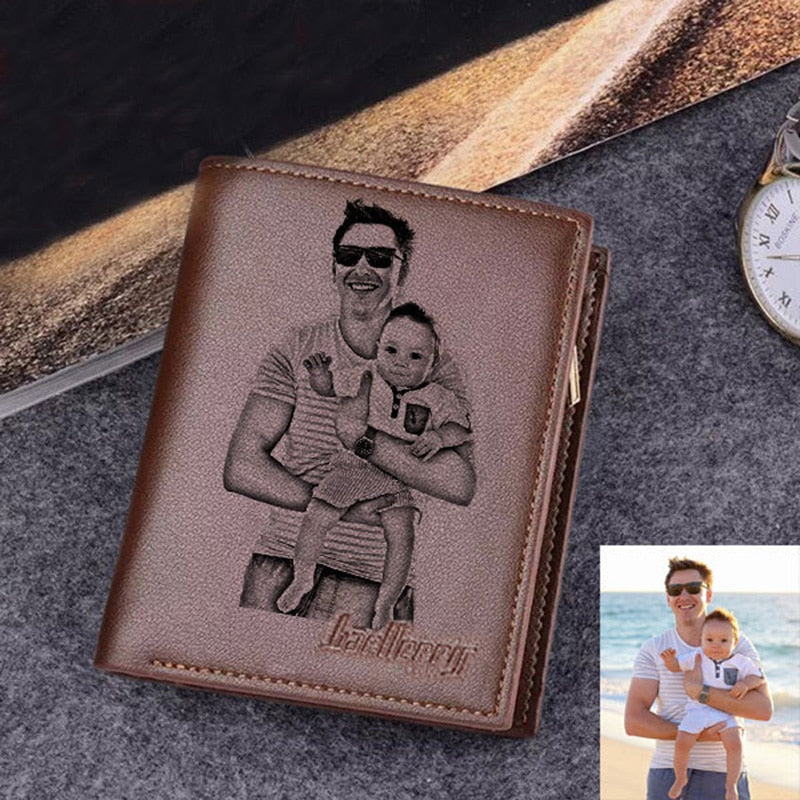 Personalized Custom Photo Engraved Ultra-thin Leather Wallet For Men