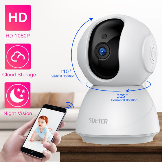 HD 1080P WiFi Security Camera And Baby Monitor With Night Vision