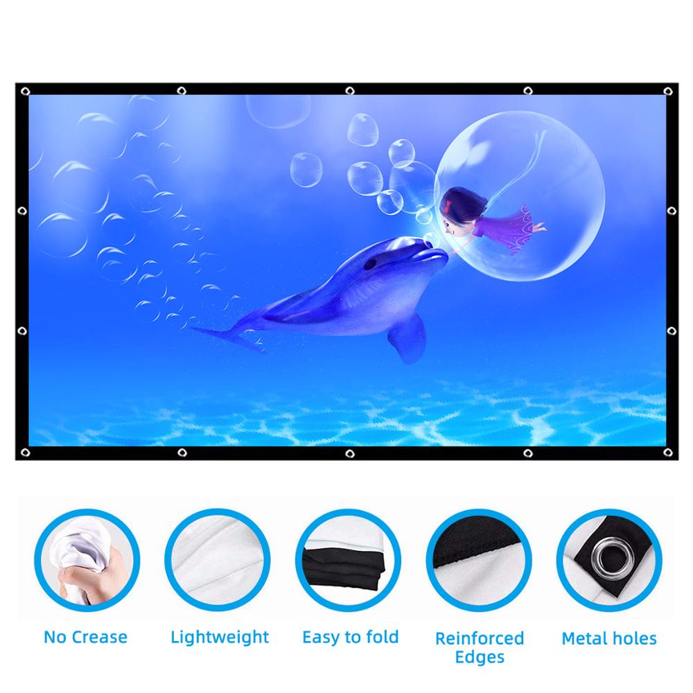 Anti-Crease Double-Sided 4K HD Foldable Portable Projector Screen for Indoor and Outdoor Fun Times