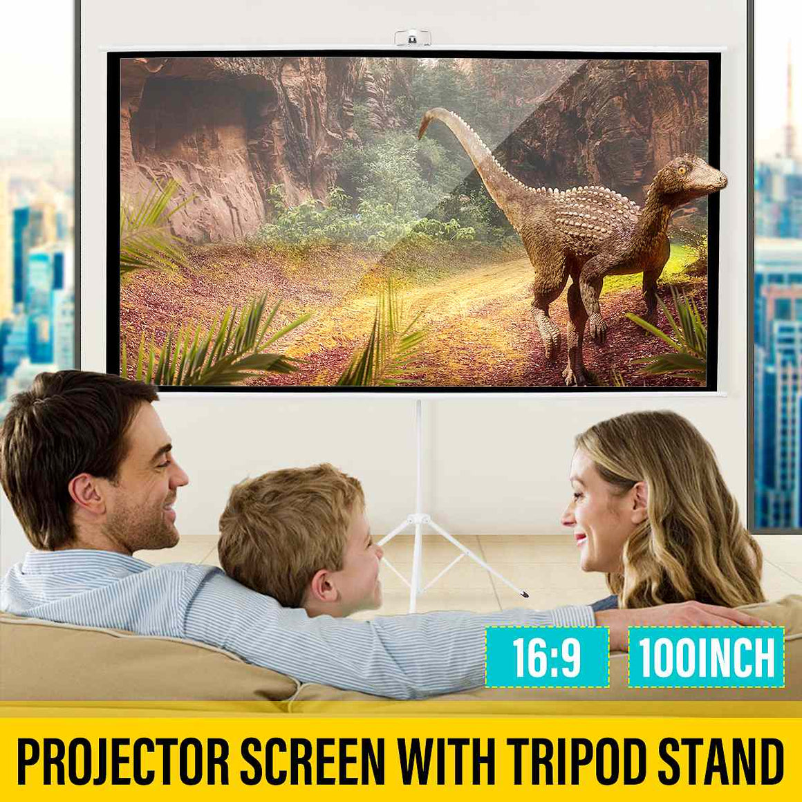 100 Inch 3D HD Portable Projector Screen for Indoor Outdoor Office WIth Tripod Stand