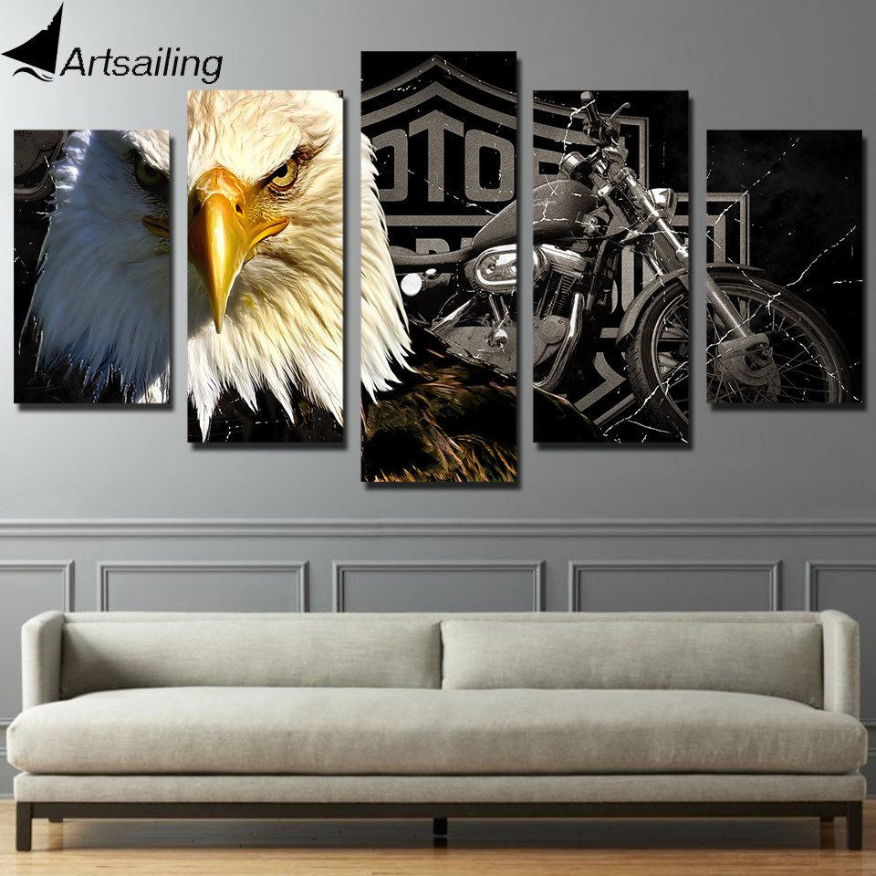 Eagles Motorcycle - 5 Piece Canvas Painting
