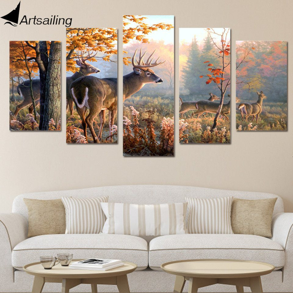 Deer Forest - 5 Piece Canvas