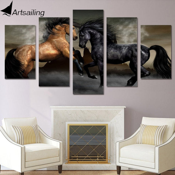 Black Brown Horse - 5 piece canvas