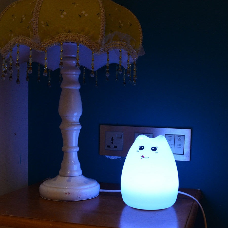 Colorful Cat Silicone LED Night Light
