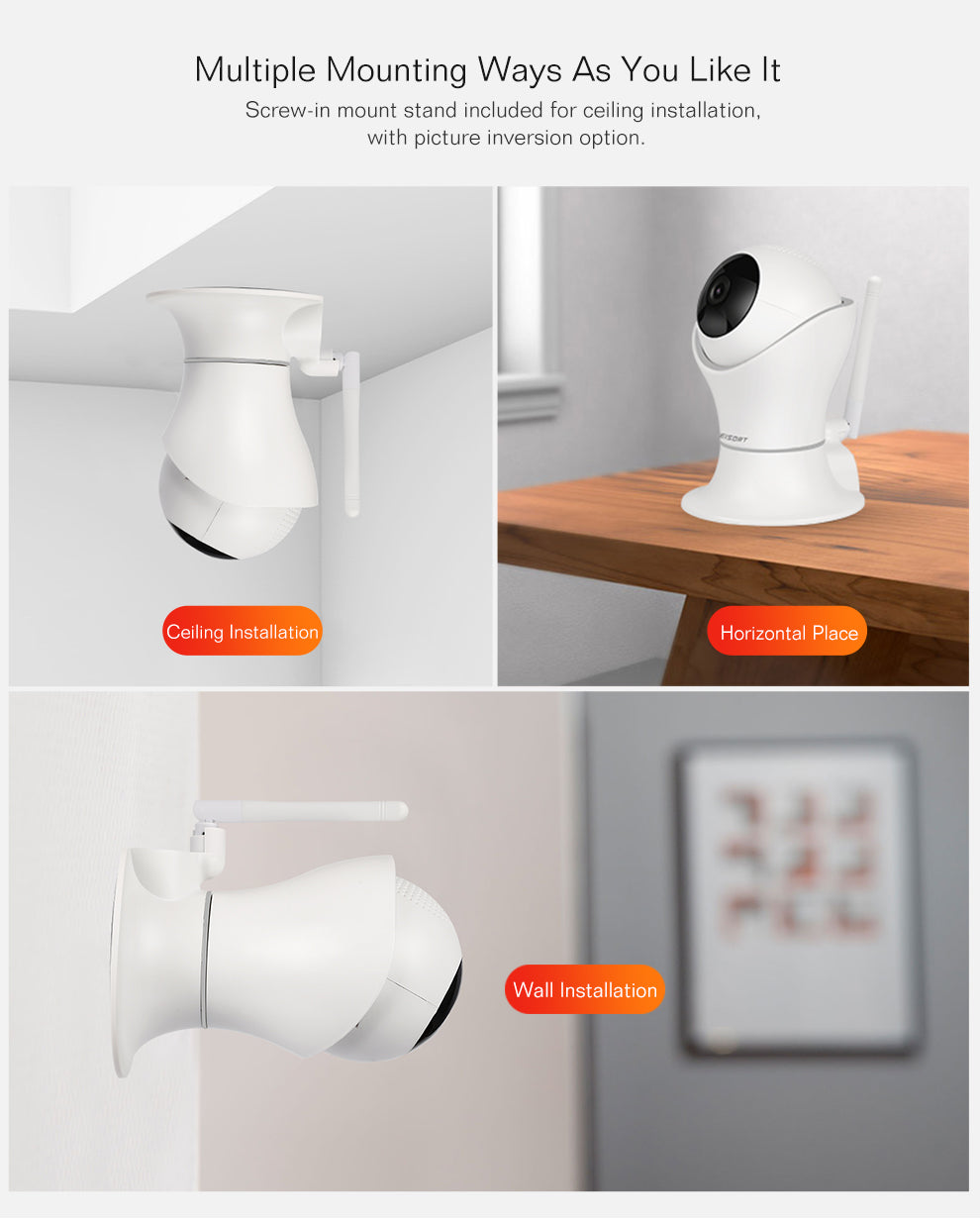 Wireless 1080P WiFi Baby Monitor Camera With 2-Way Audio Motion Detection and Night Vision
