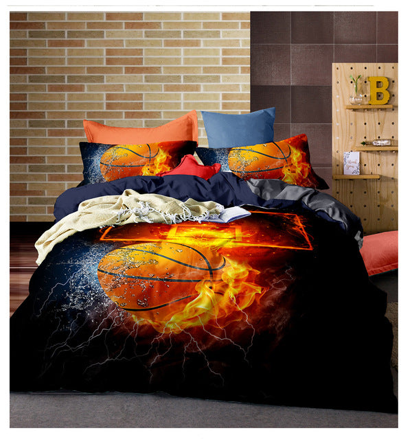 Flame Basketball Duvet Cover Bedding Set and Pillow Cases