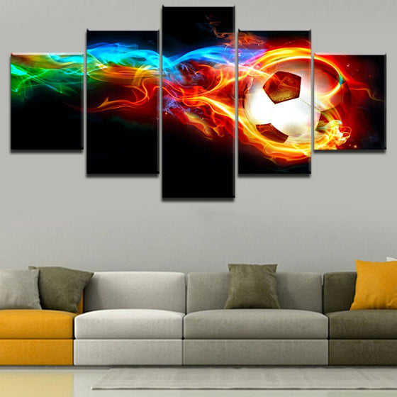 5 Panels Flaming Soccer Ball Canvas Painting