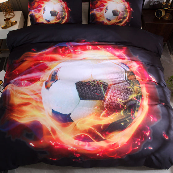 3D Flame Soccer Duvet Cover Set and Pillow Cases