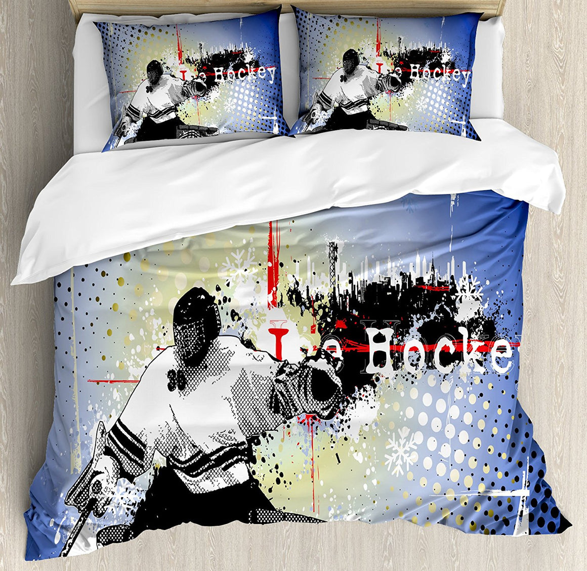 Hockey Goalie Bedding Set Duvet Cover, Pillow Cases and Bed Sheet - 3 pcs