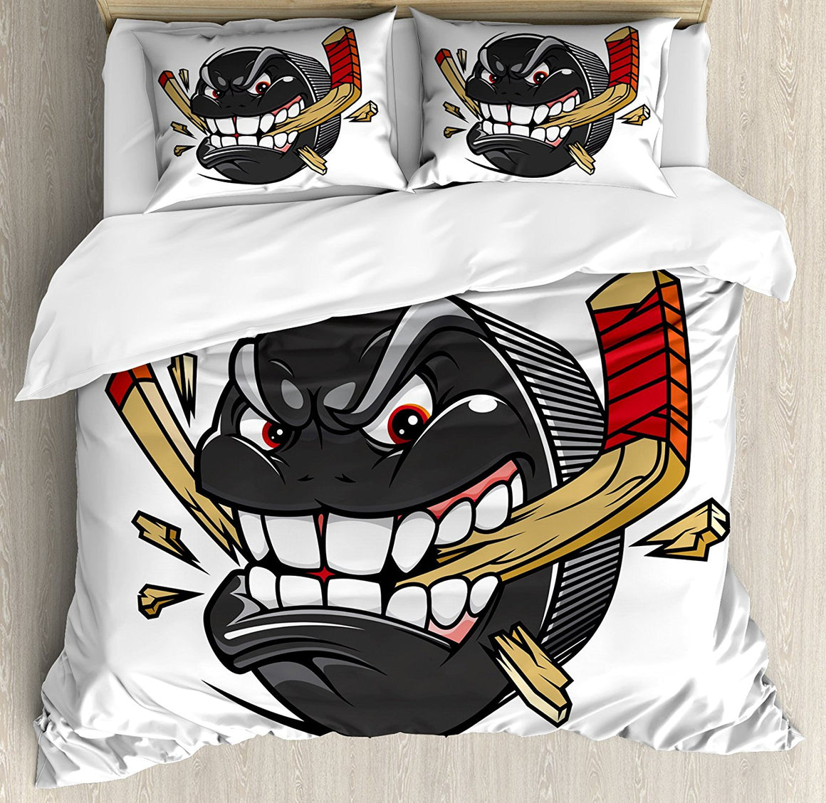 3D Hockey Puck Bedding Set Duvet Cover, Pillow Cases and Bed Sheet - 3 pcs