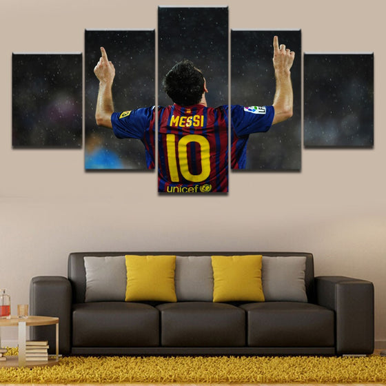 5 Panel FC Barcelona Lionel Messi Canvas Painting