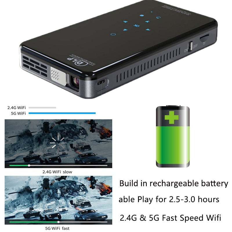 Bluetooth WiFi HD Handheld DLP Portable Mini Pocket Projector