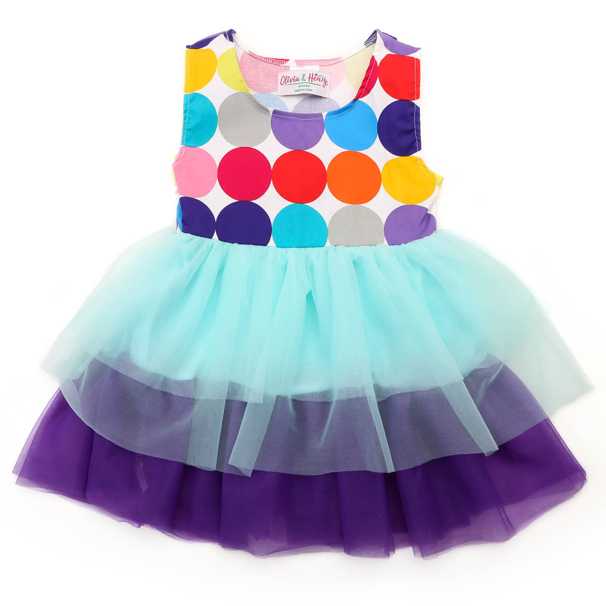 Little Girl\'s Blue and Purple Party Dress | oliviaandhenry.com