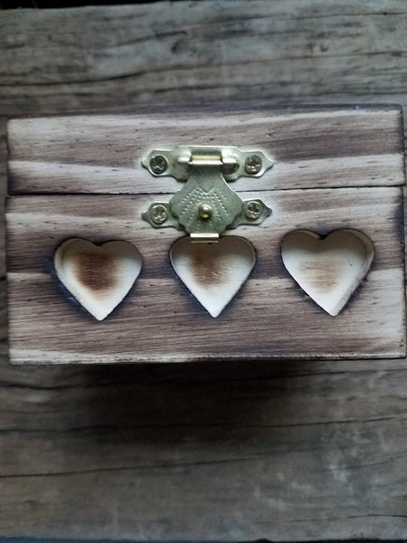 3 Heart Small Wooden Box