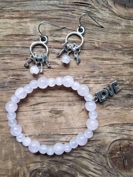 Pink Quartz Bracelet & Key Earrings