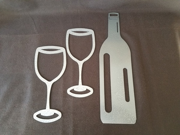 Metal Art Wine Bottle with 2 Glasses (Plasma Cut)