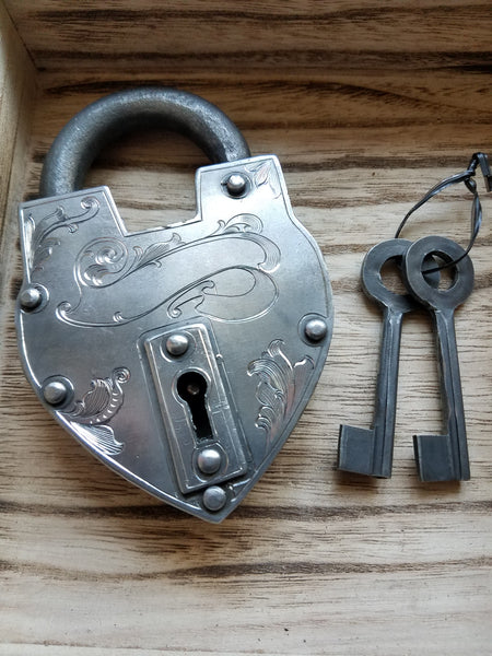 "5"" Heart Lock Hand Engraved by Tony Lee Frost"