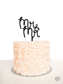 Mr & Mr - Cake Topper - Black Acrylic