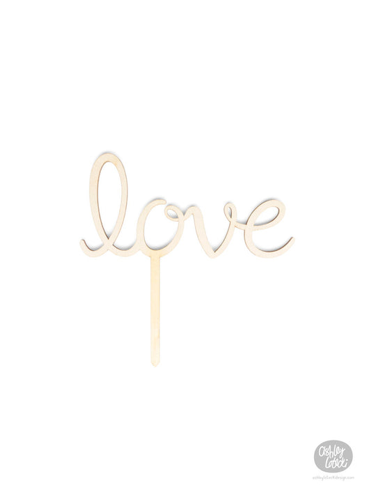 Love - Cake Topper - Wood