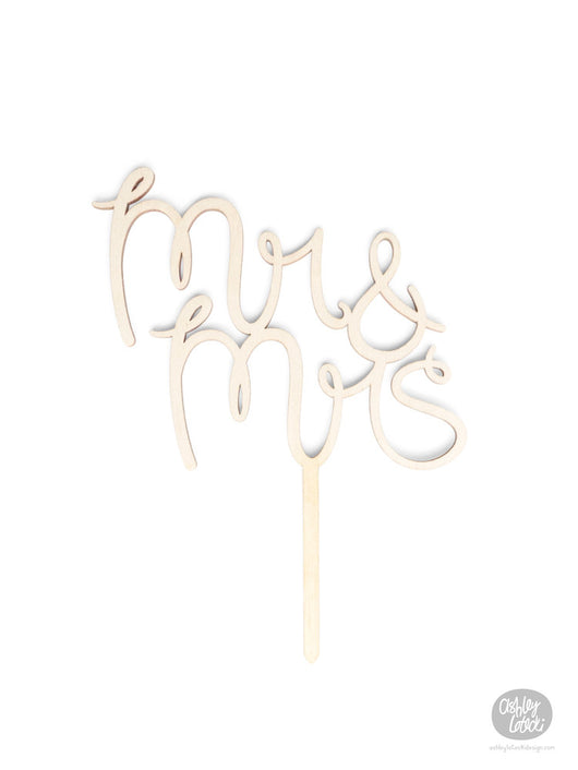 Mr & Mrs - Cake Topper - Wood