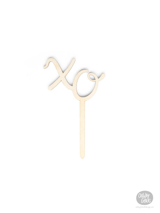 xo - Cake Topper - Wood