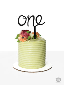 One - Cake Topper - Black Acrylic