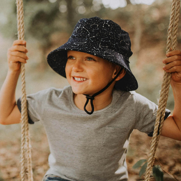 Bedhead Hats - Boys Toddler Bucket Sun Hat with Strap 'Zodiac' Print