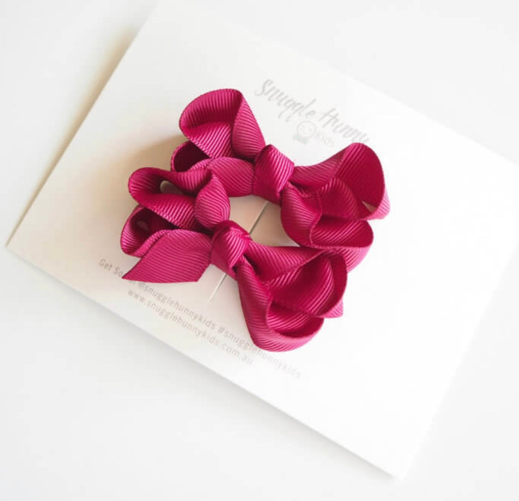 Snuggle Hunny Kids - Piggy Tail Pair - Burgundy Bow Clips