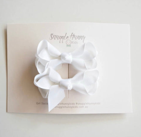 Snuggle Hunny Kids - Piggy Tail Pair - White Bow Clips