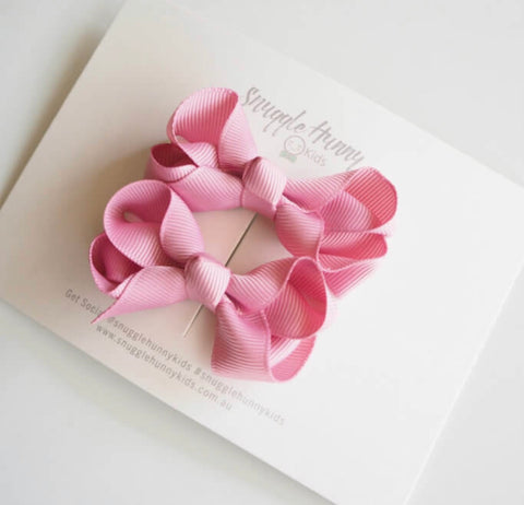 Snuggle Hunny Kids - Piggy Tail Pair - Dusty Pink Bow Clips
