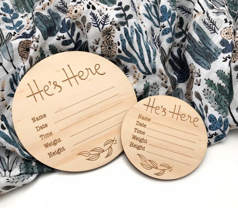 One.Chew.Three Baby Record Announcement Plaques - He's Here