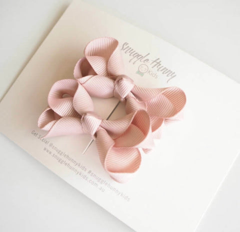 Snuggle Hunny Kids - Piggy Tail Pair - Nude Bow Clips