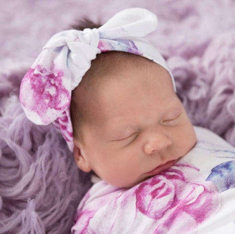 Snuggle Hunny Kids - Baby Lilac Skies Floral Topknot Headband
