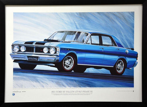 1971 Ford Falcon XY Gt Framed Print Signed A-Tag Limited Edition /500