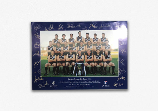 CARLTON 1995 BLUES PREMIERS SIGNED POSTER