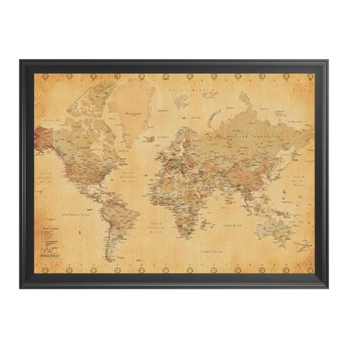 World Map Vintage Style - Framed