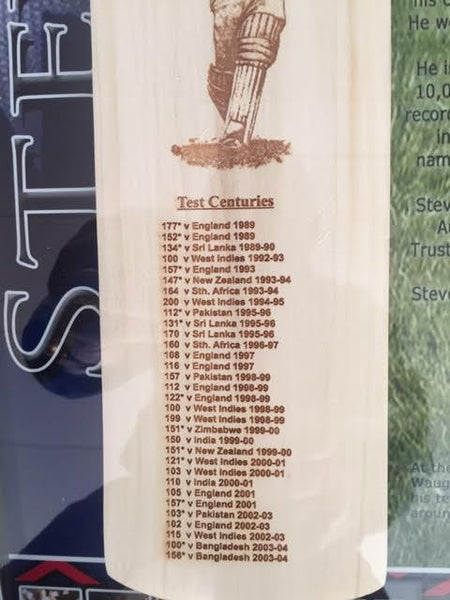 STEVE WAUGH SIGNED BAT & CABINET  'The Iceman""