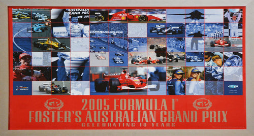 2005 F1 Foster's Australia GP 10 Year Anniversary Framed Poster