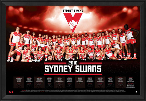Sydney Football Club Official 2016 AFL Team Poster Framed