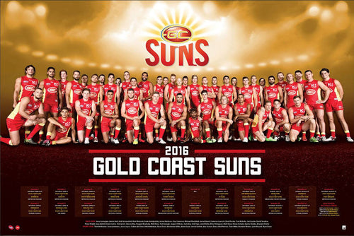 Gold Coast Suns 2016 Team Poster