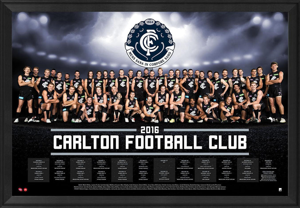 Carlton 2016 Team Poster Framed