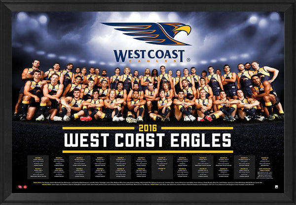 West Coast Football Club Official 2016 AFL Team Poster Framed