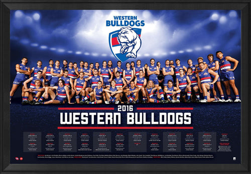 Western Bulldogs Football Club Official 2016 AFL Team Poster Framed