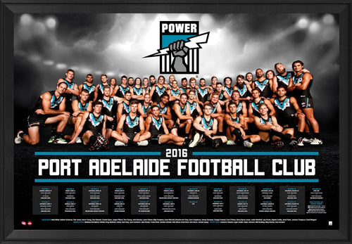 Port Adelaide Football Club 2016 AFL Team Poster Framed