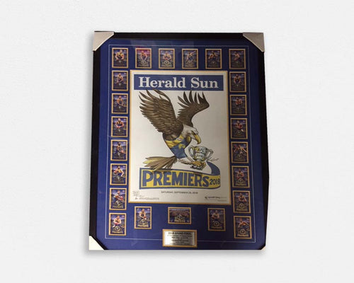 West Coast Eagles 2018 Premiers Tribute Frame with Herald Sun Poster & Player Cards